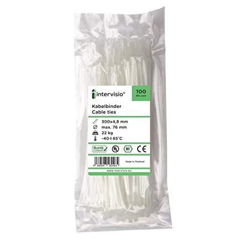 intervisio Bridas de Plastico para Cables 300mm x 4,8mm, Blanco, 100 Piezas