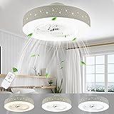 LUTDK 45W LED Fan Plafonnier Moderne Nordique Dimmable Ventilateur Au Plafond...