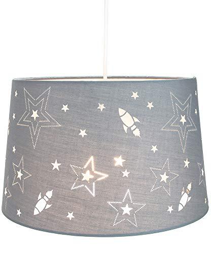 Fun Rockets et étoiles enfants/enfants gris lin chambre pendentif ou abat-jour par Happy Homewares