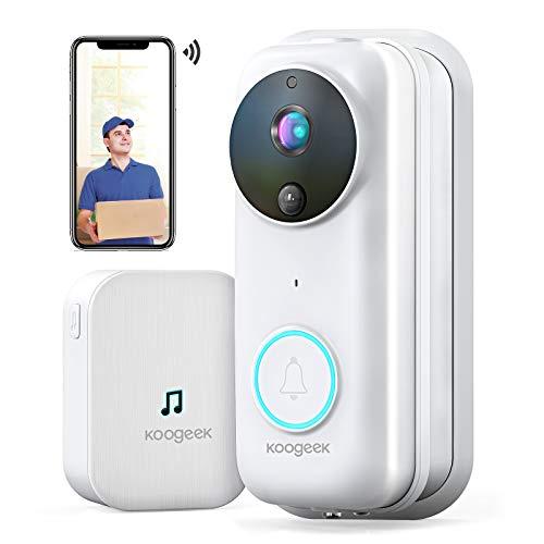 Koogeek Visiophone sans Fil,Interphone Vidéo WiFi HD 1080P, Sonnette Vidéo Intelligent avec Changement de Voix, Sonnette Connectee Sécurité,Détection de Mouvement PIR, Vision Nocturne, IP65 Etanche