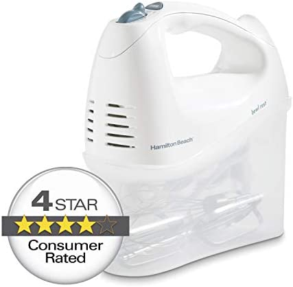 Hamilton Beach 6-Speed Electric Hand Mixer, Beaters and Whisk, with Snap-On Storage Case, White