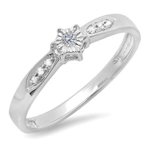 Dazzlingrock Collection - Anillo de compromiso de boda de diamante redondo de 0,05 quilates (ctw), plata de ley