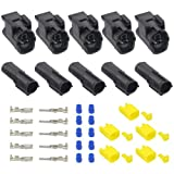 WMYCONGCONG 5 Kits 2 Pin Way Waterproof Electrical Connector Plug for Car Automotive (2 Pin)