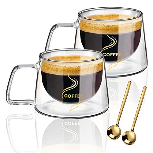 KAMEUN Set di 2 Tazza in Vetro a Doppia Parete, Caff Tazza di Vetro con Manico Calici da Acqua per T, Caff, Latte, Cappuccino, Espresso, Succo, t, Acqua - Gratuito 2 Cucchiai (2*200ml)