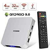 Android 9.0 TV Box,HAOSIHD AI ONE Android TV Box with 4GB RAM 32GB ROM RK3328 Quad-core,Support 4K Full HD/BT 4.0/2.4G WiFi/USB 3.0 Smart TV Box