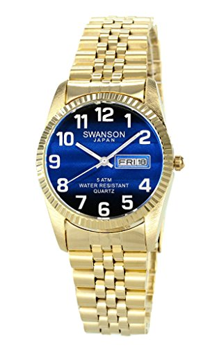 Swanson Men's Gold Day-Date Watch Blue Dial with Large White Numbers