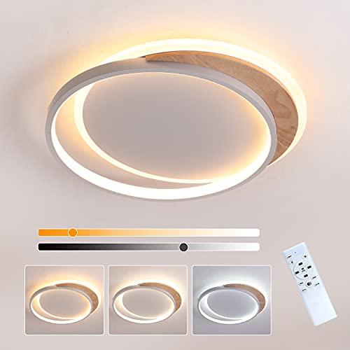 Plafoniera LED 24W Lampada da soffitto dimmerabile con Telecomando, 40cm Legno Rotonda Plafoniera LED, Moderno Plafoniera per Cucina, Soggiorno, Camera da Letto, Ufficio e pi