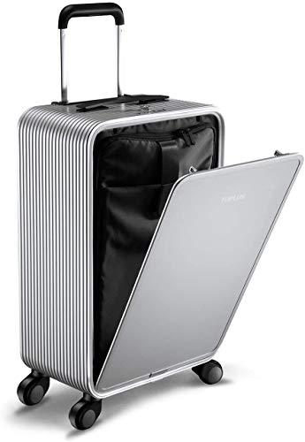TUPLUS Rollkoffer Trolley Reisekoffer Koffer Hartschalenkoffer aus Aluminium, 4-Rollen 360 Grad, Volumen 33L, Höhe 63cm, Silber