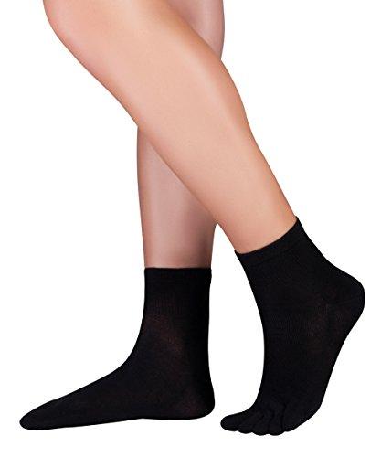 Knitido Dr. Foot Silver Protect | Calzini corti con le dita ad effetto antimicrobico, Misura:43-46, Colori:nero (001)