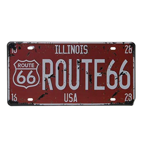 Ogquaton USA Route 66 Auto Vintage Nummernschild Metallwand Handwerk Retro Garage Wohnkultur Premium Qualität