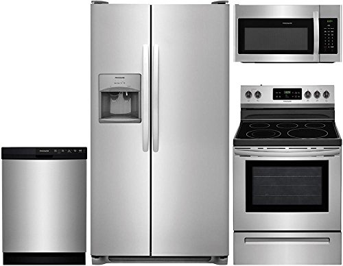 Frigidaire 4-Piece Stainless Steel Kitchen Package with FFSS2615TS 36' Side-by-Side Refrigerator, FFEF3054TS 30'...