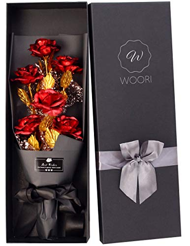 Gold Roses Bouquet, Gold Plated Artificial Rose 24k Golden Foil Rose, Forever Gifts for Her Valentine's Day Anniversary Wedding Mothers Day Birthday Gift and Proposal–Gold, Red by W