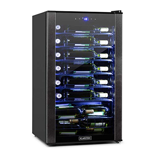 KLARSTEIN Vinomatica - Cantinetta Frigo per Vini, Capacit: 36 Bottiglie, 95 Litri, Temperature: 4-18 C, Classe G, Pannello Touch, 6 Ripiani, Luce LED Interna, Posizionamento Libero, Nero