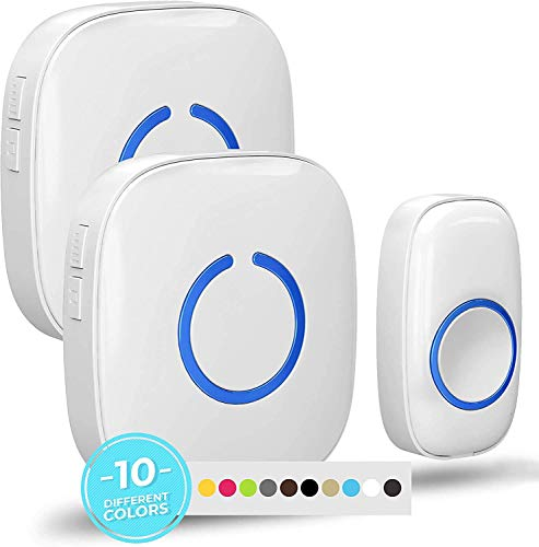 SadoTech White Wireless Doorbell Kit: Model CXR Wireless Doorbells for Home with 1 Push Button Transmitter and 2 Receivers - Waterproof, Long Range Wireless Door Bell - Battery Operated Door Bells