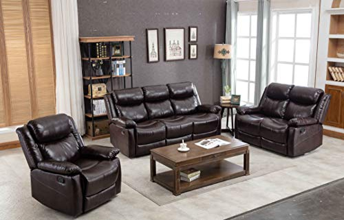 CASSY Leather Sofa Sectional Reclining Sofa Recliner Sofa Couches for Living Room (Recliner&Loveseat&3-Seat Sofa, Brown)