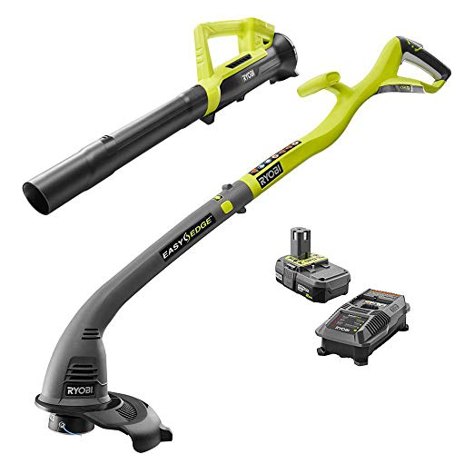 Ryobi One ONE+ 18-Volt Lithium-Ion String Trimmer/Edger and Blower Combo Kit 2.0 Ah Battery and Charger Included