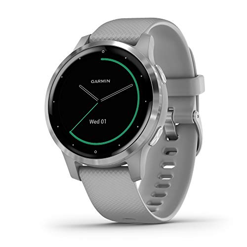 Garmin vivoactive 4S, Smaller-Sized GPS Smartwatch, Features Music, Body Energy Monitoring, Animated Workouts, Pulse Ox Sensors and More, Silver with Gray Band