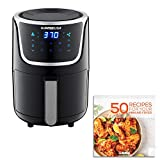 GoWISE USA Electric Mini Air Fryer with Digital Touchscreen + Recipe Book, 1.7-Qt up to 2 Qt Max, Black/Silver