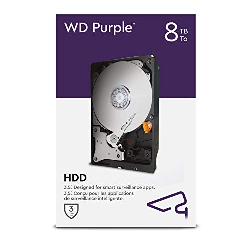 WD Purple: disco duro interno de 8 TB, videovigilancia de 3,5 ', Allframe AI: 360 TB / año, 256 MB de caché, clase de 7.200 RPM