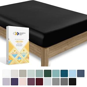 California Design Den 400 Thread Count 100% Cotton 1 Fitted Sheet Only, Black Twin Fitted Sheet, Long - Staple Combed Pure Natural Cotton Sheet for Kids & Adults, Soft & Silky Sateen Weave