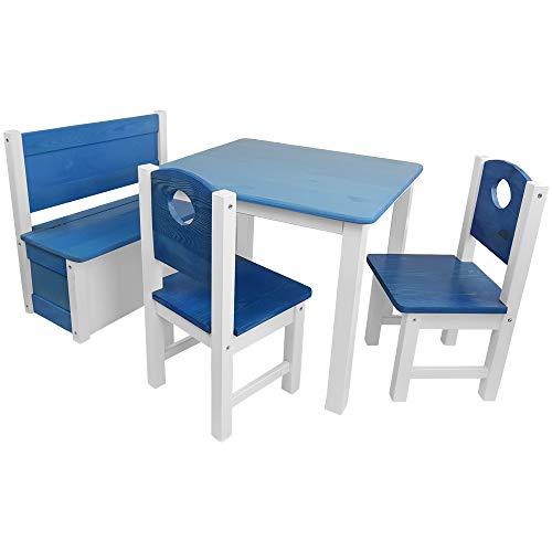 Kinder-Sitzgruppe - Kinderzimmer Set: 1 Tisch, 2 Stühle und Truhenbank - Top Möbel-Qualität aus Kiefer Massivholz - Kindertisch Kinderstühle Kindertruhe für Jungen und Mädchen, Farbe:Blau