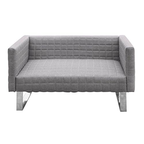 Furniture 247 - Divano a 2 posti con raffinati piedi in metallo, grigio, tessuto