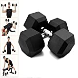Fun1980s 5-50 Pounds Hex Rubber Dumbbell with Metal Handle for Strength Training, Weight Loss, Workout Bench, Gym Equipment, and Home,Heavy Dumbbells Set of 2 (5lb,10lb,20lb,30lb,50lb) (50 LBS)