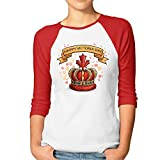 Shenigon Women's Cartoon Crown 3/4 Sleeve Baseball Tee Raglan T-Shirts L Red