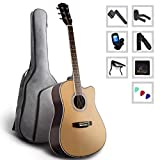Home Game Acoustic Guitar Full Size Spruce Cutaway for Beginners Students Kids with Advanced Kit, 41 Inches, Right Handed