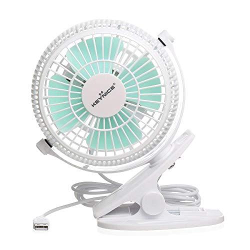 KEYNICE USB Desk Fan, 4 Inch Table Fans, Mini Clip on Fan, Portable Cooling Fan with 2 Speed, USB Powered Stroller Fan, 360 Rotate USB Fan, Personal Quiet Electric Fan for Home Office Camping- White