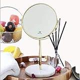 GenericBrands Espejo De Maquillaje Espejos De Mesa Espejo De Belleza De Mármol Espejo De Mesa Redondo Dorado Espejo De Tocador 18.4X33.5Cm (Color: Gris) para Tocador De Baño
