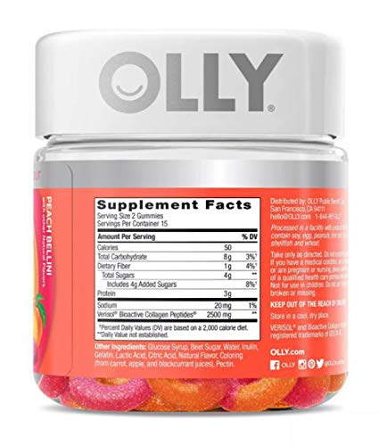 Olly Collagen Gummy Rings! 30 Gummies Peach Peach Bellini Flavor! Formulated with Bioactive Collagen Peptides! Reduce Fine Lines and Boost Skin Resilience! Choose Your Pack! (1 Pack) 3