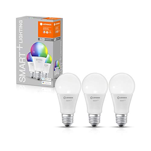LEDVANCE Smarte LED-Lampe mit WiFi Technologie, Sockel E27, Dimmbar, Lichtfarbe änderbar (2700-6500K), RGB Farben änderbar, ersetzt Glühlampen mit 60 W, SMART+ WiFi Classic Multicolour, 3er-Pack