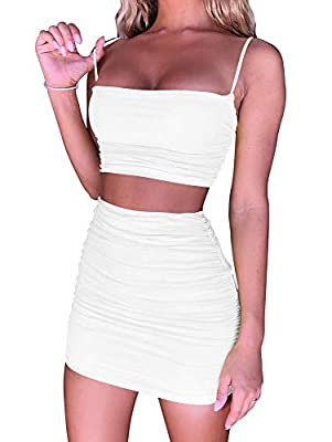 Feature: ruched,adjustable tops and skirt,high waist,bodycon,mini sexy 2 piece outfit Material:polyester and spandex,The fabric is soft ,super comfortable and very stretchy,Double layer The back of the crop top and skirt are ruched and adjustable,Spe...