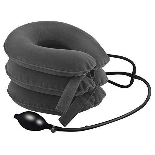 Cervical Neck Traction Device Inflatable Neck Support & Stretcher, Adjustable Neck Brace is Good for Spine Alignment and Chronic Neck Pain Relief, Traction Collar is Easy to Use at Home or Office