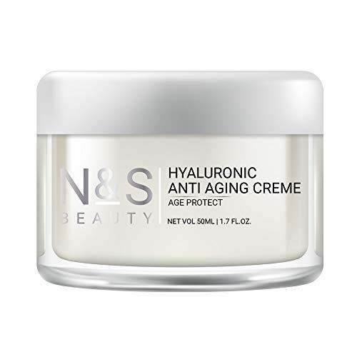 N&S Beauty | Anti Aging Creme mit Hyaluronsäure und Coenzyme Q10 | Anti Falten | Gesichtscreme für Damen und Männer | Soforteffekt | Augenringe | Feuchtigkeitscreme | Tränensäcke