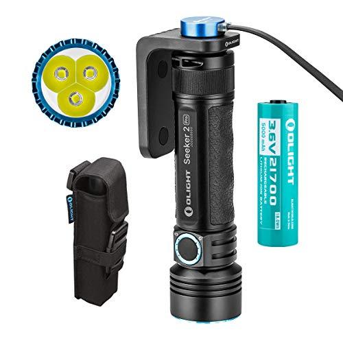 Bundle: Olight Seeker 2 Pro Lampe Torche LED Puissante 3200 Lumens 250 Mètres, Lampe de Poche Super...