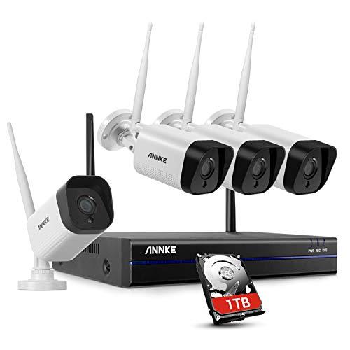 ANNKE Kit Telecamera Wi-Fi Videosorveglianza Wireless 8CH 1080P FHD Sistema di Sorveglianza Plug and Play H.264+ Sistema di Sicurezza Videocamere IP Bullet Visione Notturna Accesso Remoto 1TB HDD