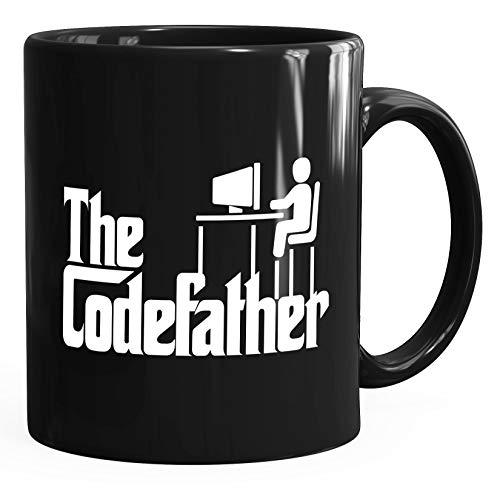 MoonWorks® Taza de café The Codefather Programador IT Informatiker Coder taza de regalo negra única