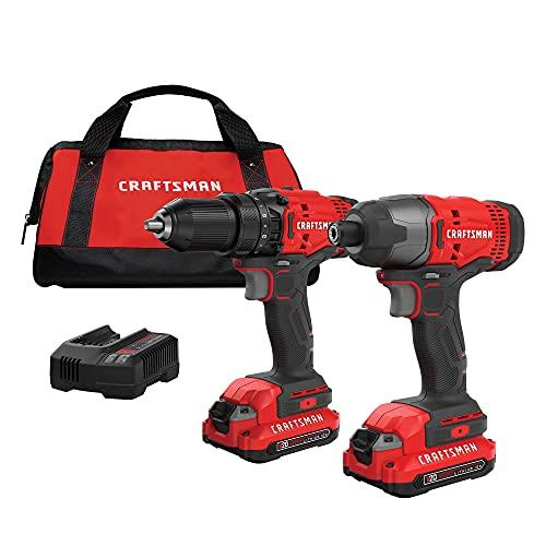 CRAFTSMAN V20 Cordless Drill Combo Kit, 2 Tool (CMCK200C2)