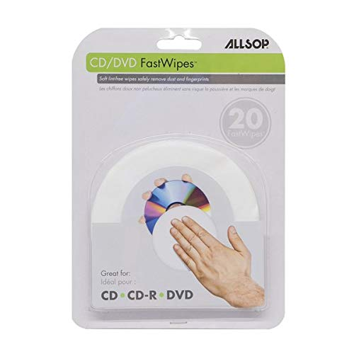 Allsop CD and DVD FastWipes, lint-free wipes for cleaning DVD, CD, PS1, PS2, XBOX & XBOX 360 Discs