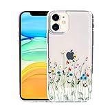 Sephonie フラワーケース iPhone 12 Mini用 (5.4インチ) フローラルパターン クリア スリムフ……