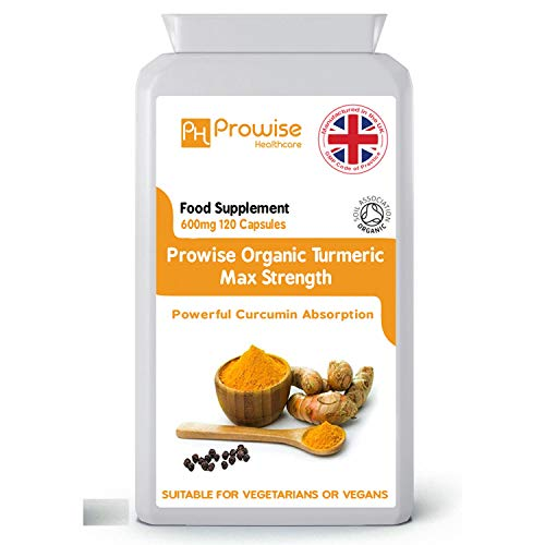Kurkuma Curcumin mit schwarzem Pfeffer 600mg - 120 vegane & vegetarische Kapseln | Kurkuma Kapseln Hochfest mit maximaler Absorption - UK Hergestellt | GMP-Standards von Prowise Healthcare