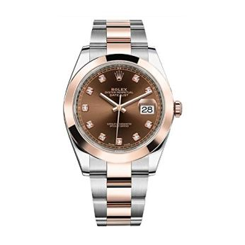 Rolex Datejust 41 Steel & 18K Rose Gold Chocolate Diamond Dial Mens Watch 126301