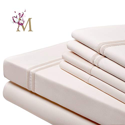 Proudly Made in USA, (6 Pieces Bed Sheet Set),100% Egyptian Cotton-Giza86- Sateen Weave, Fits Mattress up to 18 inch, (Queen-Ivory), Designed with 2 Lines of Royal Ivory Velvet