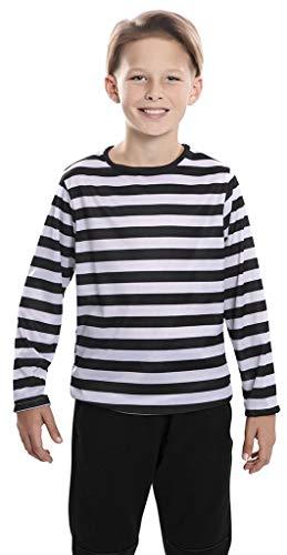 Camiseta con rayas negras y blancas para niños