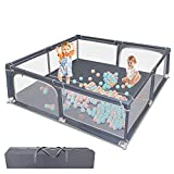 """Baby Playpen, Playpen for Babies, Baby Fence with Safety Gates, Infant Activity Center Play Yard 79""""x 71"""" with Anti-Slip Suckers/Breathable Mesh Walls/Storage Bag"""