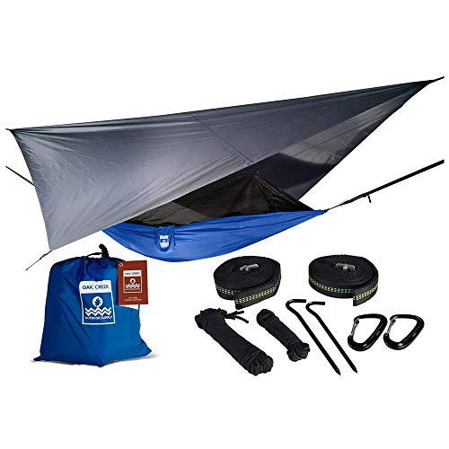Lost Valley Camping Hammock | Bundle Includes Mosquito Net, Rain Fly, Tree Straps, and Compression Sack | Weighs Only 4 Pounds, Perfect for Hammock Camping | Lightweight Nylon Portable Single Hammock