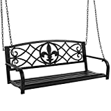 Best Choice Products 2-Person Metal Outdoor Porch Swing, Hanging Patio Bench w/Weather-Resistant Steel, 485lb Weight Capacity - Black