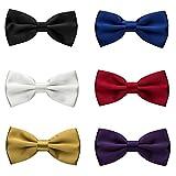Nœud Papillon Homme, Lot de 6 Cravate Lavallière Nœud Papillon avec Crochet déjà lié et Réglable pour Soirée Businesse Mariage Cérémonie Fête Costume Necktie